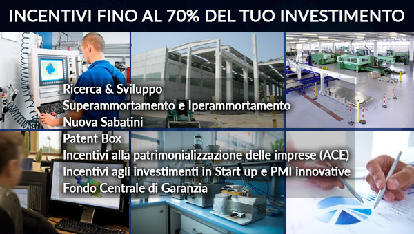 Fino al 70% del tuo investimento è gratis! Affianca alla tua impresa la nostra consulenza professionale al fine di sfruttare gli incentivi cumulativi attualmente in essere!