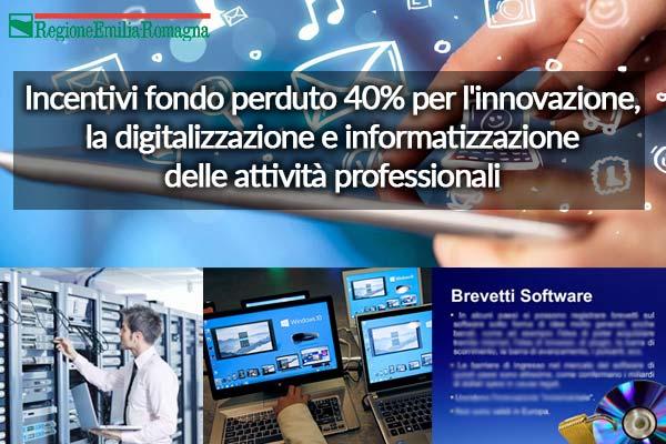 Regione Emilia Romagna: Bando per il sostegno di progetti rivolti all'innovazione, digitalizzazione e informatizzazione delle attività professionali